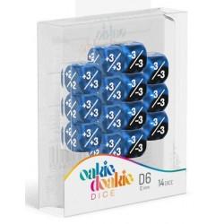 Oakie Doakie Dice - 14D6 - 12mm - Marble/Gemidice - Positive & Negative - Blue