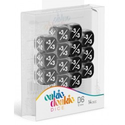 Oakie Doakie Dice - 14D6 - 12mm - Marble/Gemidice - Positive & Negative - Black
