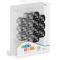 Oakie Doakie Dice - Dés 14D6 - 12mm - Marble/Gemidice - Positive & Negative - Noir