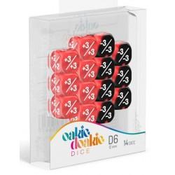 Oakie Doakie Dice - Dés 14D6 - 12mm - Marble/Gemidice - Positive & Negative - Rouge