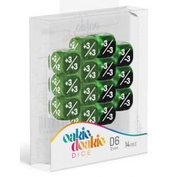 Oakie Doakie Dice - 14D6 - 12mm - Marble/Gemidice - Positive & Negative - Green
