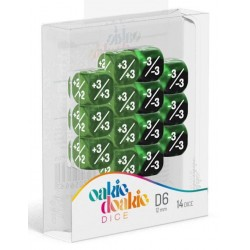 Oakie Doakie Dice - Dés 14D6 - 12mm - Marble/Gemidice - Positive & Negative - Vert