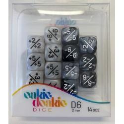 Oakie Doakie Dice - 14D6 - 12mm - Marble/Gemidice - Positive & Negative - White