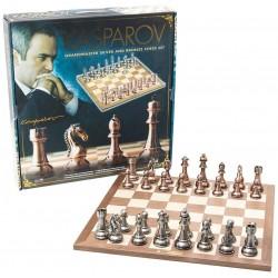 Kasparov - Jeu d'échecs - 50 cm en bois avec pièces en cuivre et en bronze