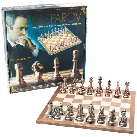 Kasparov - Chess Set - 40 cm - Wooden Chessboard with Copper and Bronze Pieces
