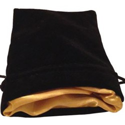 Large Dice Bag Black Velvet Gold satin lining