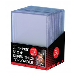 "Ultra Pro - 25 Toploaders - Thick 75pt Toploader (3""x4"")"