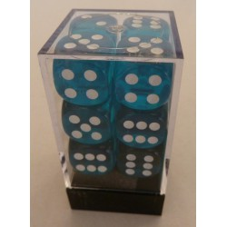 Chessex 12D6 16mm Transparent Teal /Blanc