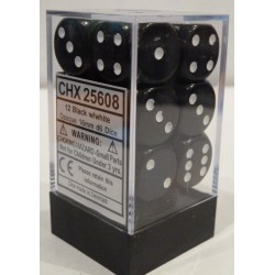 Chessex 12D6 16mm Opaque Black/White