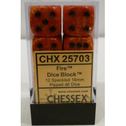 Chessex Dice - 12D6 - 16mm - Fire Speckled