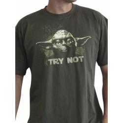 T-shirt Star Wars Yoda Try Not Khaki
