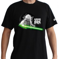 T-shirt Star Wars Yoda Judge me by my size do you ? Noir