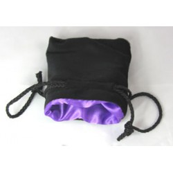 Koplow Small Dice Bag Black Velvet Purple satin lining