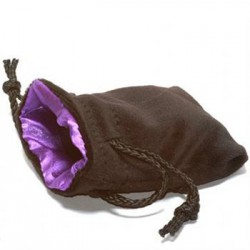 Koplow Large Dice Bag Black Velvet Purple satin lining