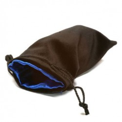 Koplow Large Dice Bag Black Velvet Blue satin lining