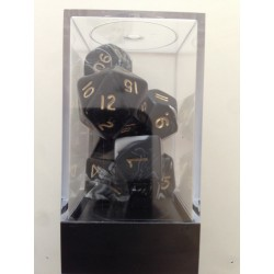 7 Marble Dice Pack Black