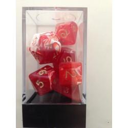 Pack de 7 dés Marbrés Rouge