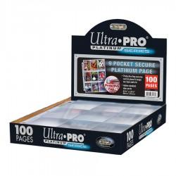9-Pocket Secure Platinum Pages (3-Holes) Ultra PRO (x100)