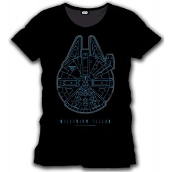 T-shirt Star Wars Episode VII Millenium Falcon (Noir)