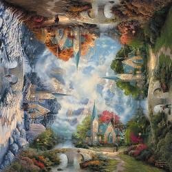Puzzle Saisons - Chapelle en Montagne - Thomas Kinkade