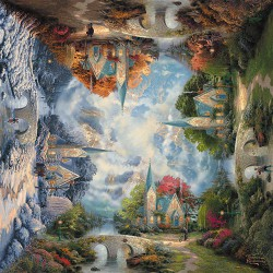 Puzzle Seasons - The Mountain Chapel - Thomas Kinkade