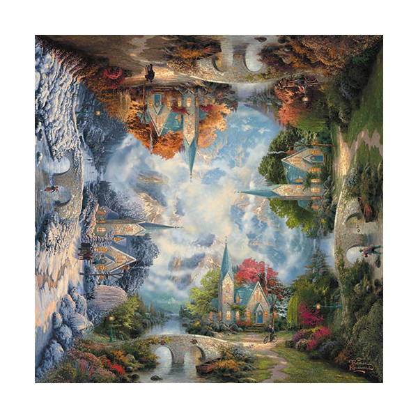 Puzzle The Mountain Chapel Seasons Thomas Kinkade