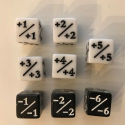 Positive Negative D6 Dice 16mm (8 Dice: 5 Positive & 3 Negative)