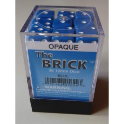 Koplow Dice - 36D6 - 12mm - Opaque - Square - Blue/White