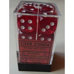 Chessex Dice - 12D6 - 16mm - Transparent - Red/White