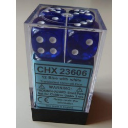 Chessex dés - 12D6 - 16mm - Transparent - Bleu/Blanc