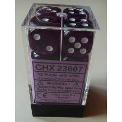 Chessex Dice - 12D6 - 16mm - Transparent - Purple/White