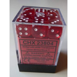 Chessex Dice - 36D6 - 12mm - Transparent - Red/White