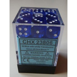 Chessex Dés - 36D6 - 12mm - Transparent - Bleu/Blanc