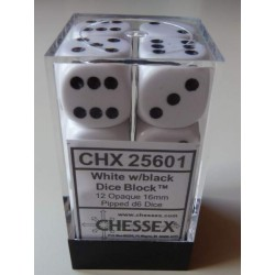 Chessex Dice - 12D6 - 16mm - Opaque - White/Black