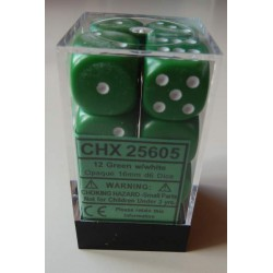 Chessex Dice - 12D6 - 16mm - Opaque - Green/White
