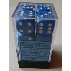 Chessex Dice - 12D6 - 16mm - Water Speckled