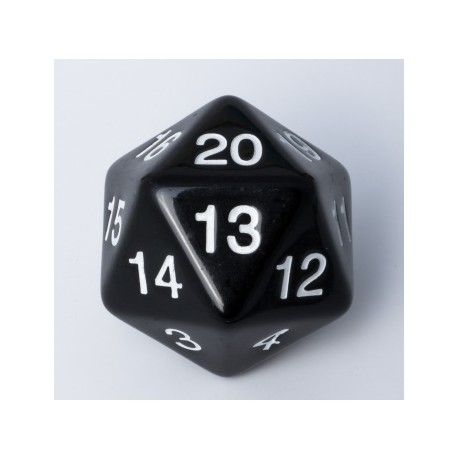 D20 - Countdown 20 Sided Die - Big Size 55mm - Black
