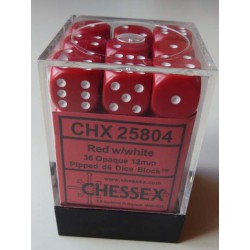 Chessex Dés - 36D6 - 12mm - Opaque - Rouge/Blanc