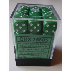 Chessex Dés - 36D6 - 12mm - Opaque - Vert/Blanc