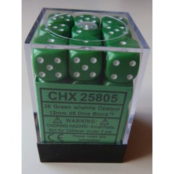 Chessex Dice - 36D6 - 12mm - Opaque - Green/White
