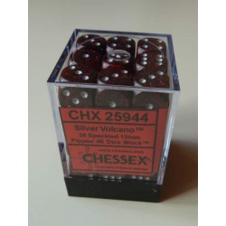 Chessex Dice - 36D6 - 12mm - Speckled - Silver Volcano - Red/Grey
