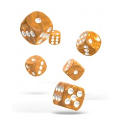 Oakie Doakie Dice - 12D6 - 16mm - Marble - Orange